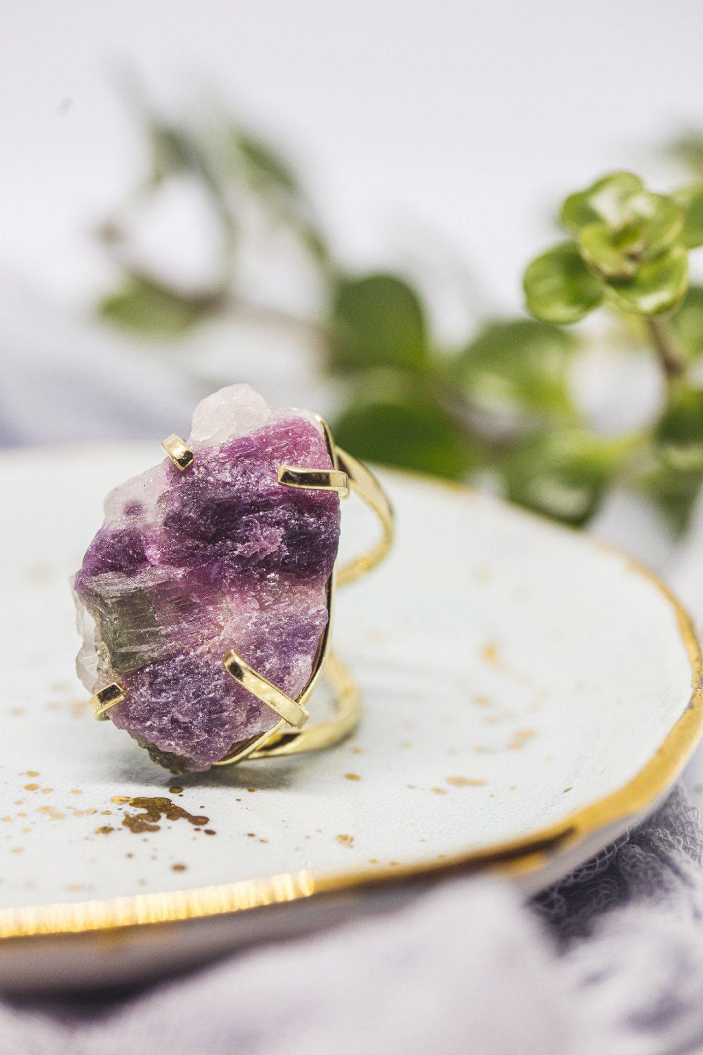 Prsten s melounovým turmalínem - pozlacený