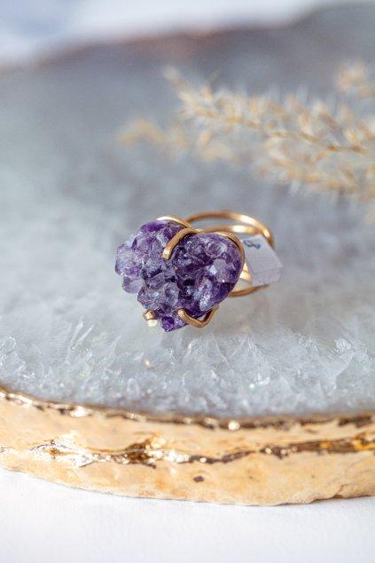 Prsten s drúzou - pozlacený