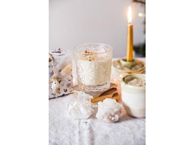 Limitovaná kořeněná Vánoční svíčka s křišťálem