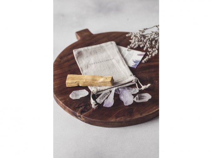 Meditační set ametystu a křišťálu s Palo Santo