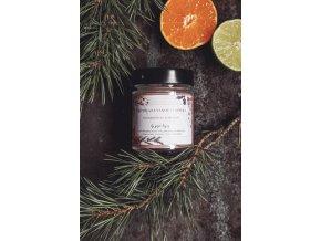 Vánoční svíčka s mandarinkou a limetkou