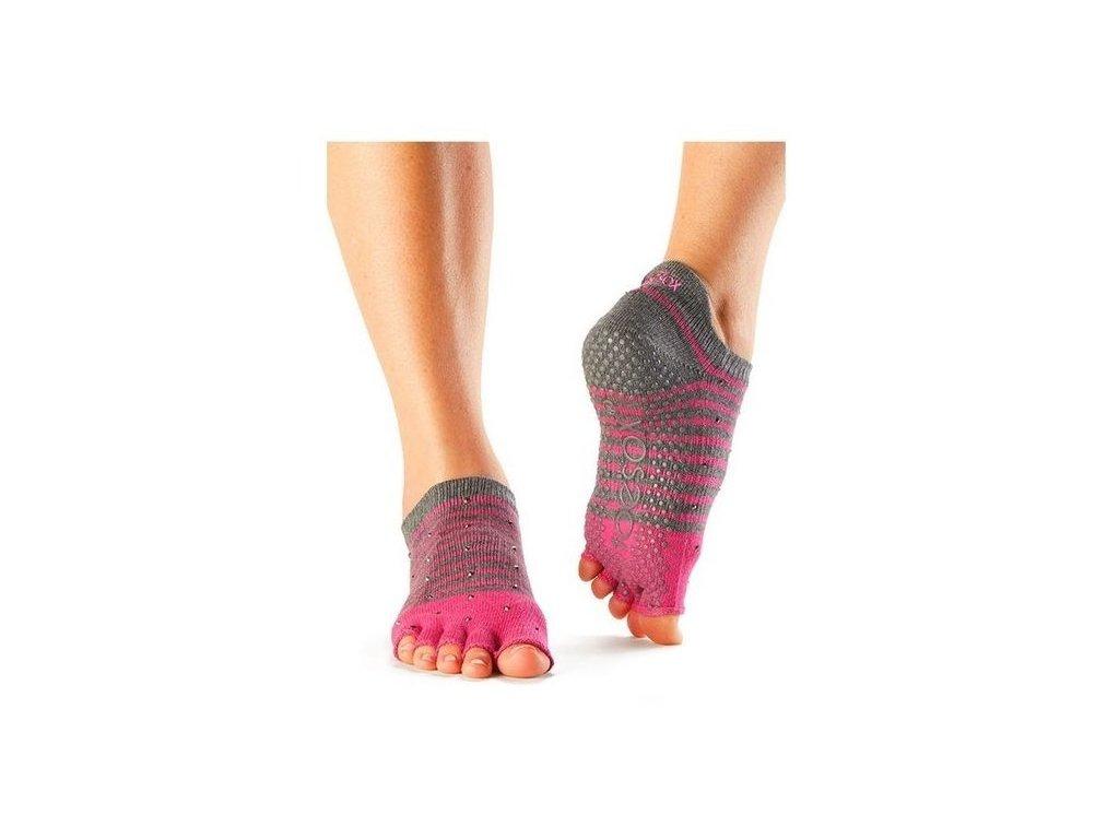 b88c8c5ec56 Bezprstové protiskluzové ponožky na jógu a pilates Low Rise tm.šedá ...
