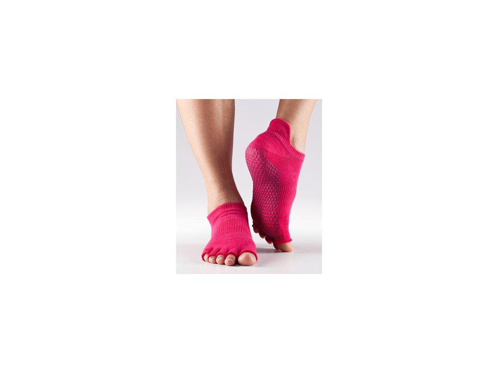 bd33631887a Bezprstové protiskluzové ponožky na jógu a pilates LowRise fuchsiové ...