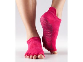 Bezprstové protiskluzové ponožky na jógu a pilates LowRise fuchsiové