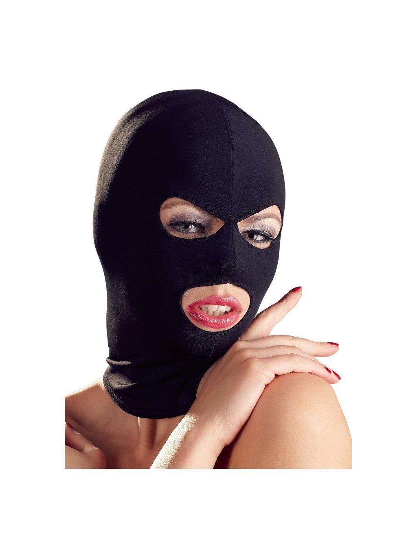 Maska s otvory pro oči a ústa, černá