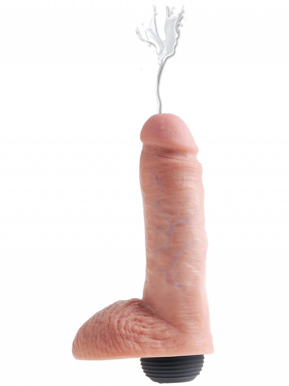 "Stříkající realistické dildo s varlaty Pipedream King Cock 8""  18 cm"
