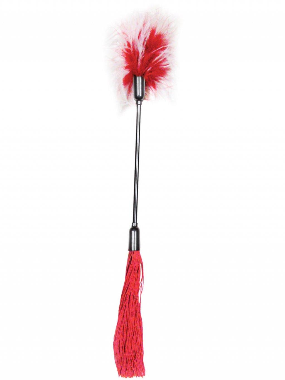 Důtky s latexovými třásněmi a peříčkovým šimrátkem S&M Whip and Tickle  červené