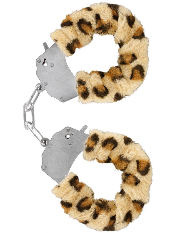 Kovová pouta na ruce s plyšovým kožíškem  leopard