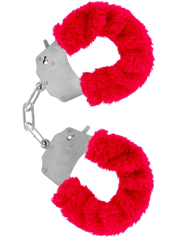 Kovová pouta na ruce s plyšovým kožíškem  červená