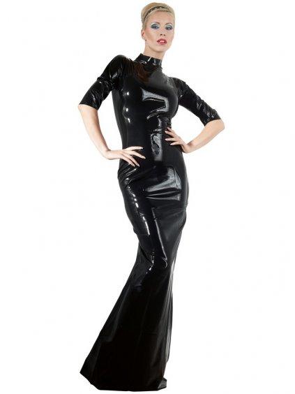 Dlouhé latexové šaty s krátkými rukávy a stojáčkem LateX