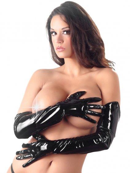 Dlouhé lakované rukavice Black Level