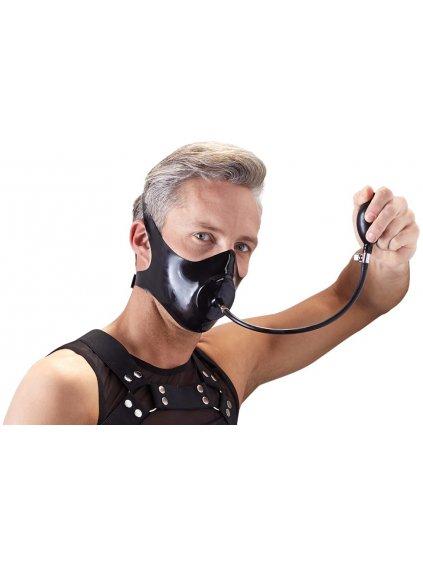Latexový roubík - maska s nafukovacím dildem LateX