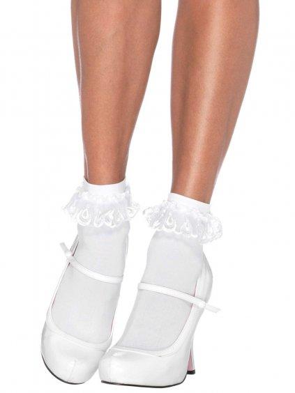 Bílé kotníčkové ponožky s krajkovými volánky
