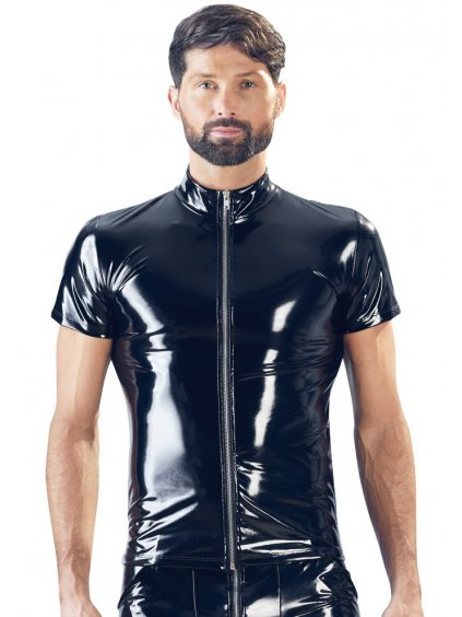 Lakované pánské tričko se zipem a stojáčkem Black Level