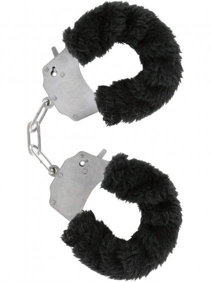 Kovová pouta na ruce s plyšovým kožíškem  černá