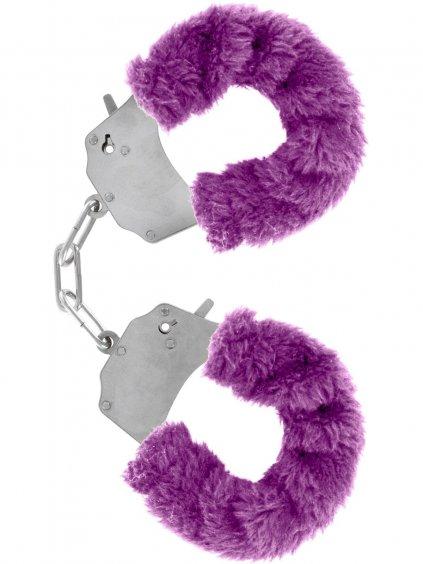 Kovová pouta na ruce s plyšovým kožíškem  fialová