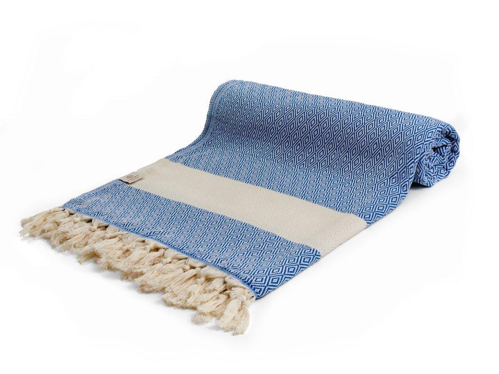 Yuana | Přehoz Diamond (195 x 250 cm) modrý | Stylové hammam osušky