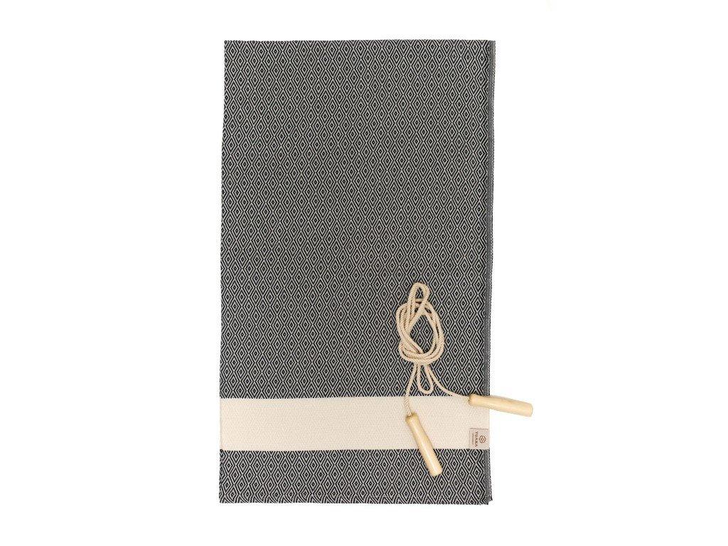 Yuana | Ručník / Peshtemal Diamond Sporty (100 x 165 cm) černý | Stylové hammam osušky