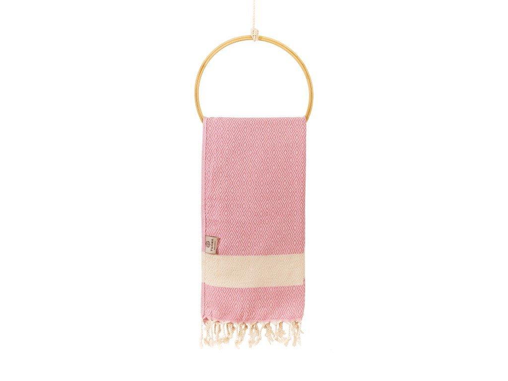 Yuana | Ručník / Peshtemal Diamond (45 x 90 cm) růžový | Stylové hammam osušky