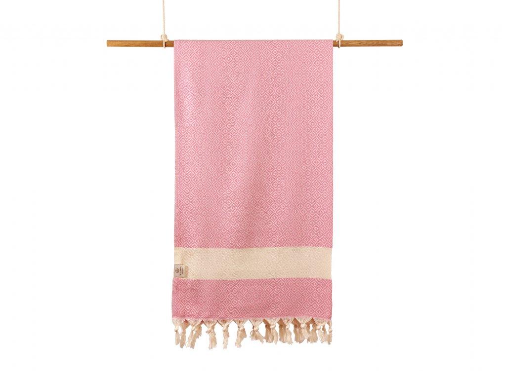 Yuana | Ručník / Peshtemal Diamond (100 x 170 cm) růžový | Stylové hammam osušky