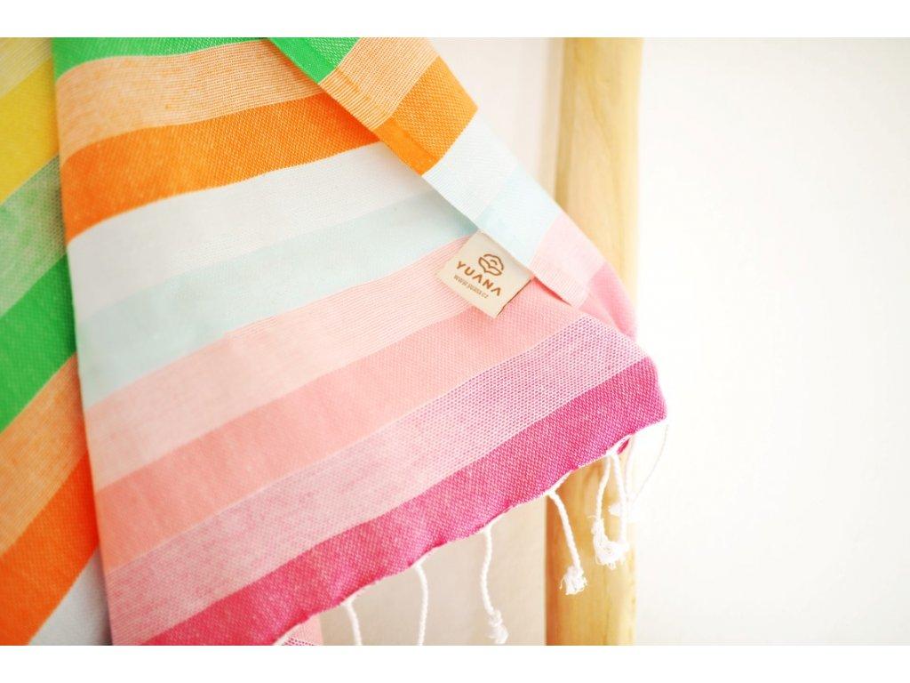 Yuana | Ručník / Peshtemal Rainbow (100 x 180 cm) duha | Stylové hammam osušky