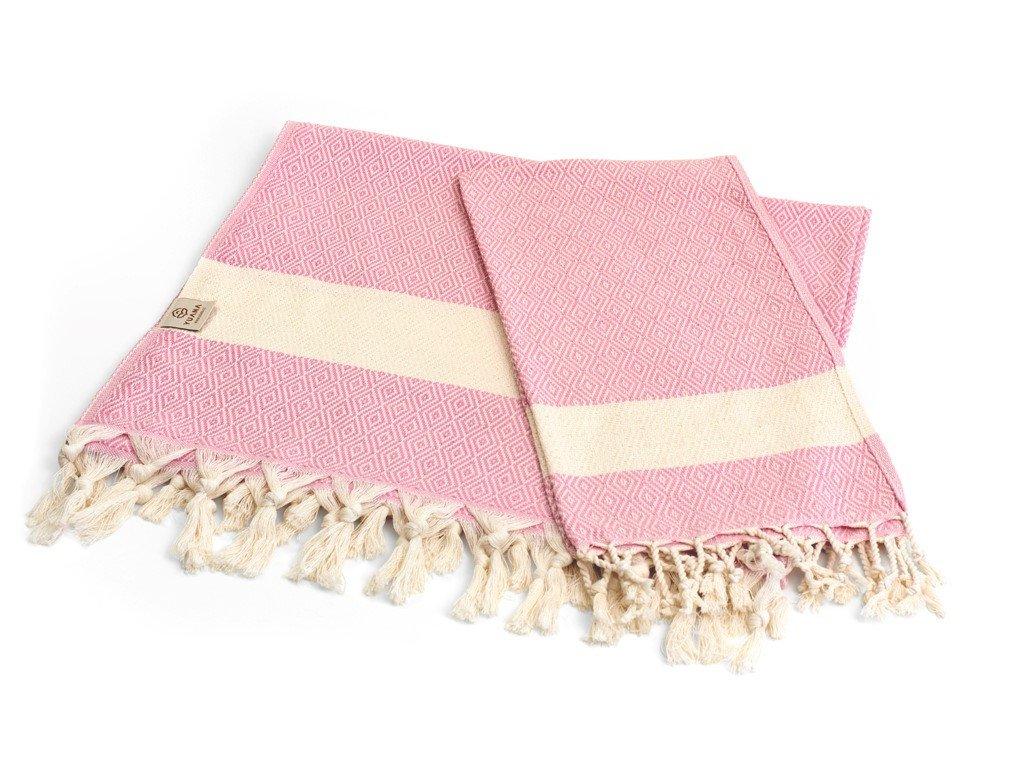Yuana   Sada Ručníků Basic / Peshtemal Diamond - růžová   Stylové hammam osušky