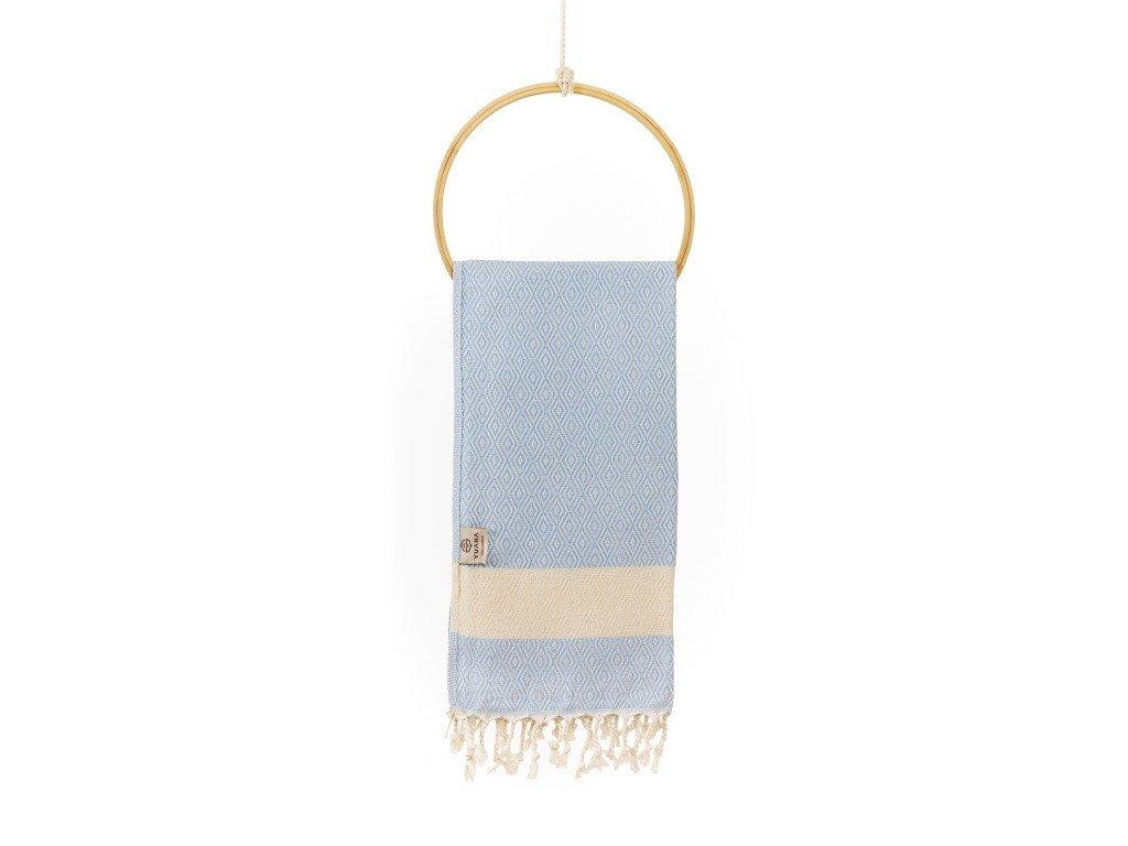 Yuana | Ručník / Peshtemal Diamond (45 x 90 cm) světle modrý | Stylové hammam osušky