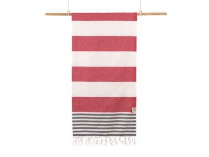 Yuana | Ručník / Peshtemal Marine (100 x 180 cm) červený | Stylové hammam osušky