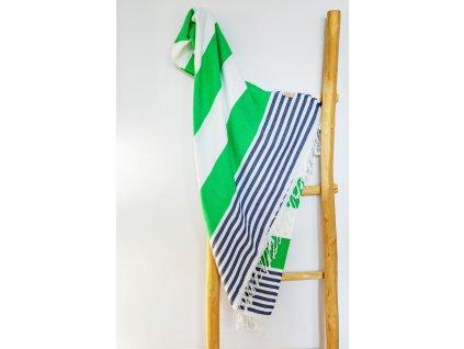 Yuana | Ručník / Peshtemal Marine (100 x 180 cm) zelený | Stylové hammam osušky