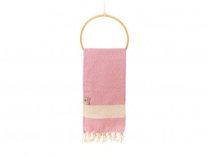 Yuana   Ručník / Peshtemal Diamond (45 x 90 cm) růžový   Stylové hammam osušky
