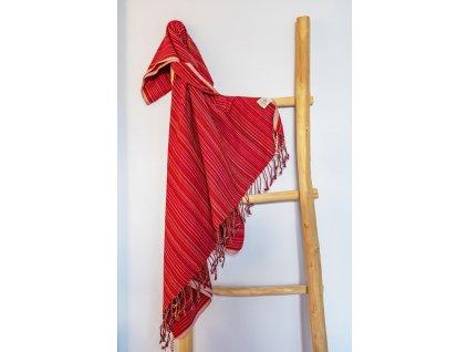 Yuana | Ručník / Peshtemal Retro (100 x 180 cm) - červený | Stylové hammam osušky