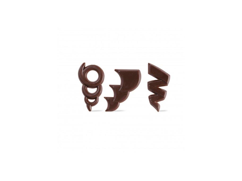 6558 1 cokoladova dekoracia moderne filigrany 250ks 71272