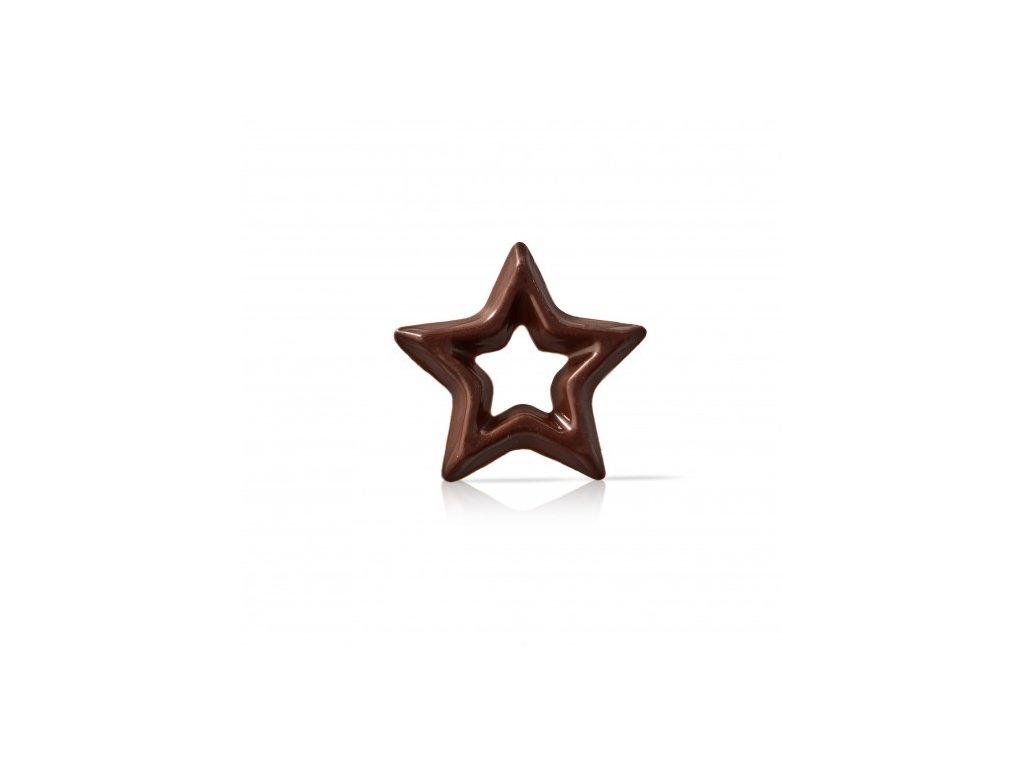 čokoládová dekorácia hviezda tmavá pr.30mm 304ks (77134)