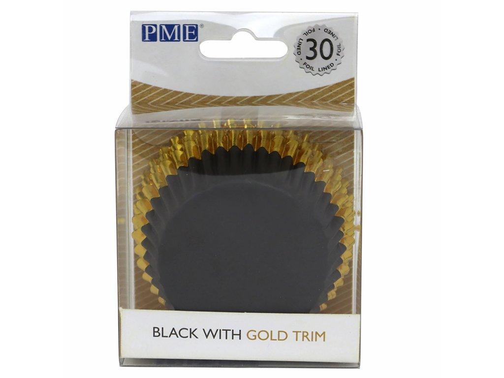BC836 0 Košíčky na muffiny čierna so zlatým pásom