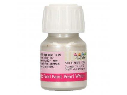4812 1 fc metalicka farba tekuta 30ml pearl white biela