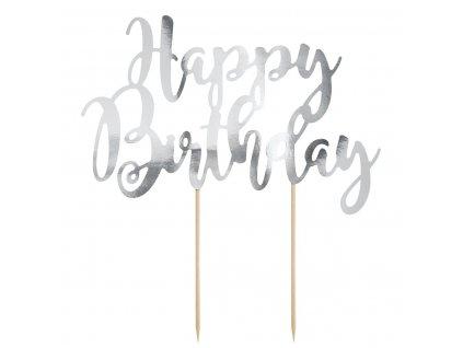 6435 1 zapich papierovy happy birthday strieborny