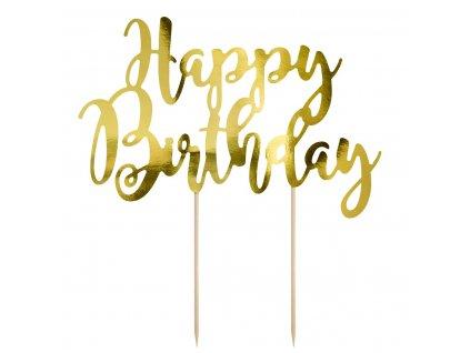 6438 2 zapich papierovy happy birthday zlaty