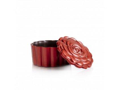 čokoládová dekorácia košíček ruža + veko 62x30mm 72ks (77677)