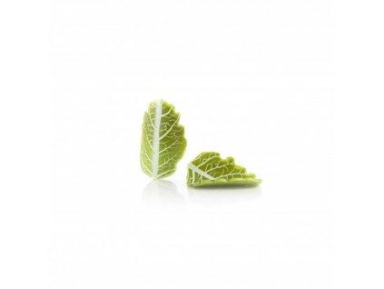 Čokoládová dekorácia zatočený list zelený 33x19x8mm 144ks (77679)