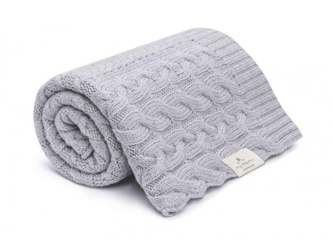 Pletená deka z merino vlny- šedá