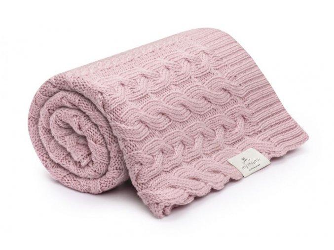 Pletená deka z merino vlny- pudrová