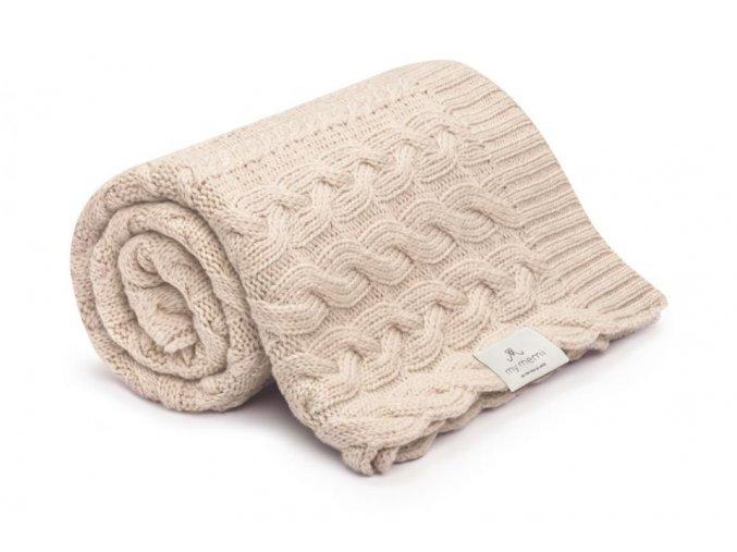 Pletená deka z merino vlny- béžová