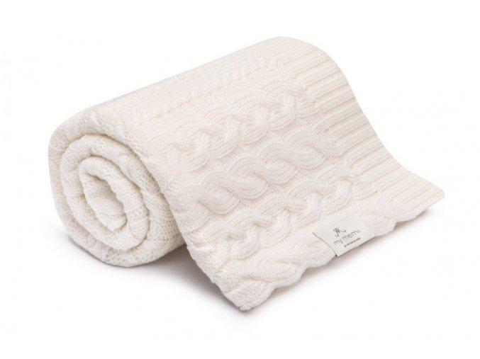 Pletená deka z merino vlny- kremová