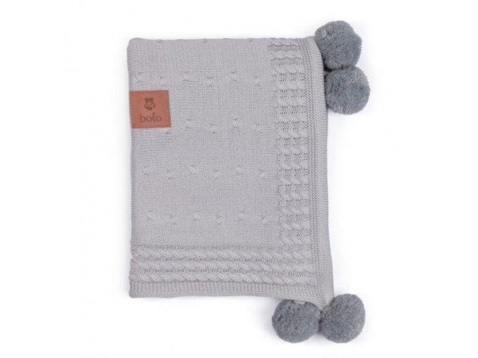 Bambusovo-bavlněná deka s kapucí- šedá