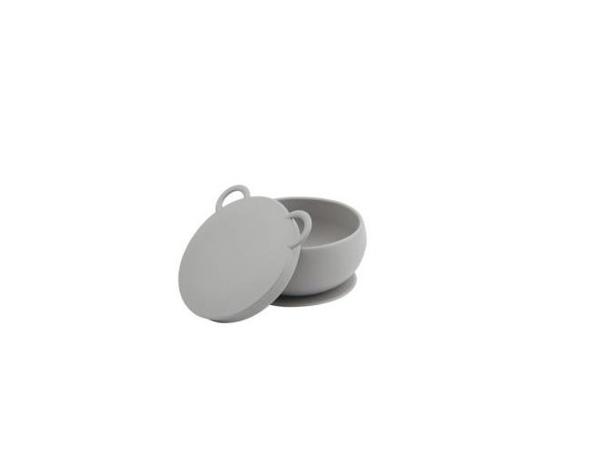 MINIKOIOI Silikonová miska s víkem- šedá