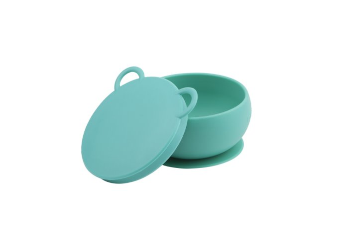 MINIKOIOI Silikonová miska s víkem- zelená