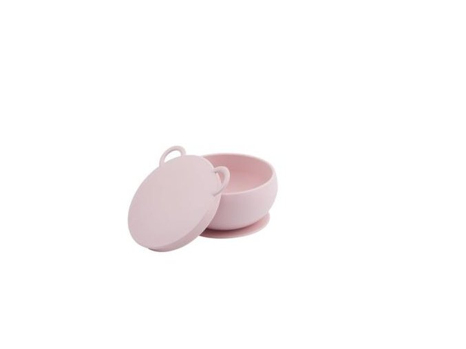 MINIKOIOI Silikonová miska s víkem- růžová