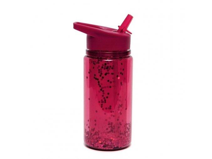 Průhledná láhev se skládacím náustkem GLITTE- ZINFANDEL