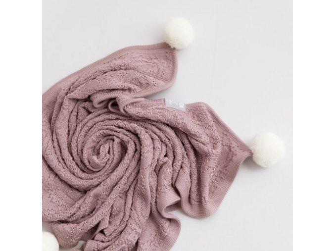 Bavlněná deka s kapucí a pomponami- růžová