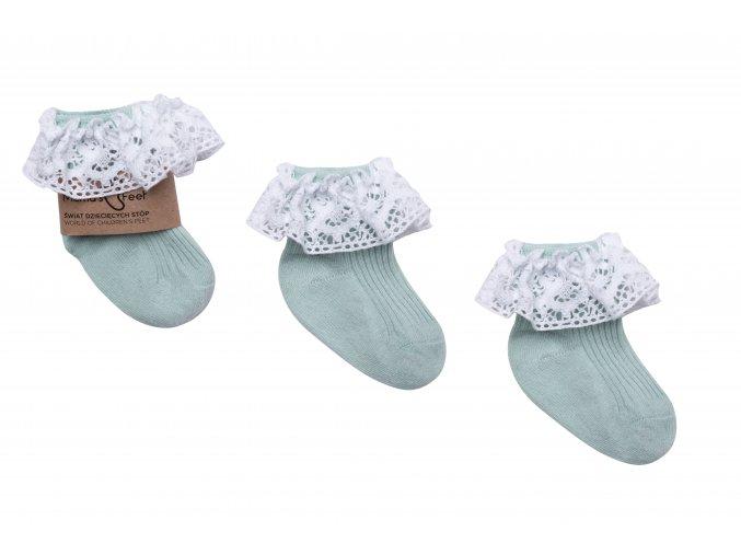 Ponožky s krajkou- mintové